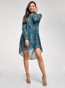 Платье шифоновое с асимметричным низом oodji #SECTION_NAME# (бирюзовый), 11913032/38375/7355E - вид 2