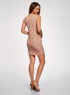Платье трикотажное с круглым вырезом oodji для женщины (розовый), 14008014-6B/46943/4312F - вид 3