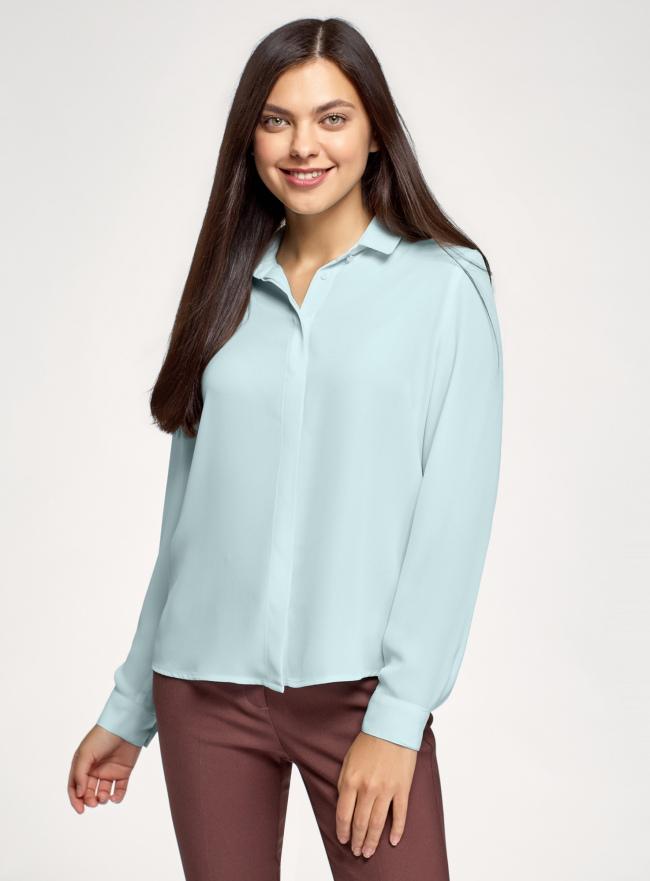 Блузка базовая из струящейся ткани oodji для женщины (зеленый), 11400368-9B/36215/6501N