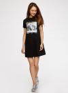 Платье свободного силуэта из фактурной ткани oodji #SECTION_NAME# (черный), 14000162-7/47481/2919P - вид 2