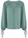 Блузка свободного силуэта с завязками на манжетах oodji #SECTION_NAME# (зеленый), 21414003/42543/6C00N