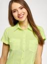 Рубашка базовая с коротким рукавом oodji #SECTION_NAME# (зеленый), 11402084-5B/45510/5000Y - вид 4