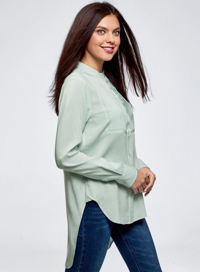 Блузка вискозная с удлиненной спинкой oodji #SECTION_NAME# (бирюзовый), 11401258-1/26346/7300N