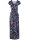Платье макси с V-образным вырезом oodji #SECTION_NAME# (синий), 14001207/46943/7919F
