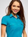 Рубашка базовая с коротким рукавом oodji #SECTION_NAME# (бирюзовый), 11402084-5B/45510/7300N - вид 4