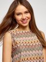 Топ из фактурной ткани с этническим узором oodji для женщины (коричневый), 15F05004/45509/3766E