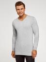 Пуловер удлиненный базовый oodji для мужчины (серый), 4B212008M/49683N/2300M
