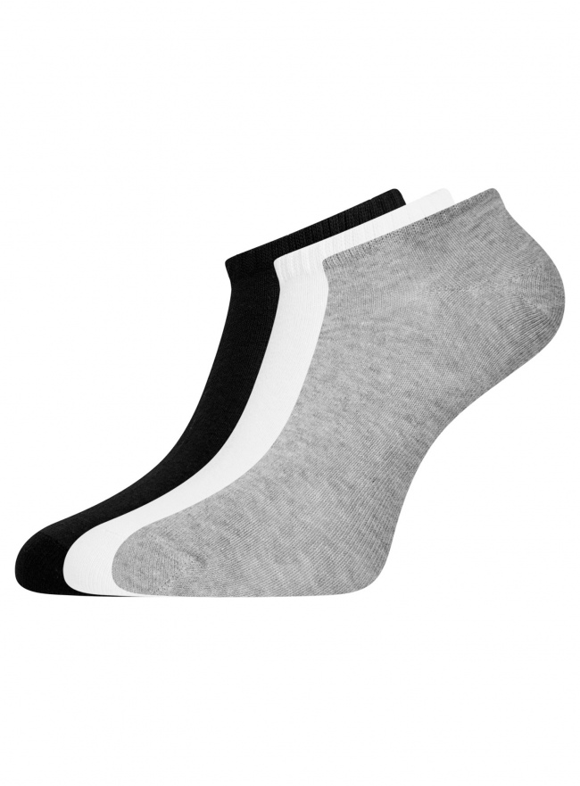 Комплект из трех пар укороченных носков oodji для женщины (разноцветный), 57102433T3/47469/108
