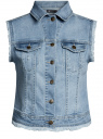 Жилет джинсовый с бахромой oodji для женщины (синий), 12409024/46341/7000W