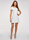 Платье приталенное с V-образным вырезом на спине oodji #SECTION_NAME# (белый), 14011034B/42588/1201N - вид 2