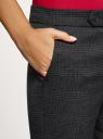 Брюки в клетку с застежкой на кнопки oodji для женщины (серый), 11702068-2/49377/2923C