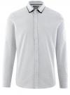 Рубашка хлопковая с контрастной отделкой воротника oodji #SECTION_NAME# (белый), 3B110031M/44425N/1079D