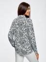 Блузка принтованная из шифона oodji #SECTION_NAME# (белый), 11400394-5/36215/1279E - вид 3