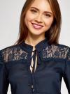 Блузка с кружевными вставками oodji для женщины (синий), 21401400M/31427/7900N - вид 4
