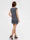 Платье принтованное из шифона oodji #SECTION_NAME# (синий), 11900154-3/13632/7512F - вид 3