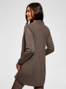 Кардиган вязаный без застежки oodji для женщины (коричневый), 73212398B/45904/3900M