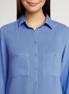 Блузка базовая из вискозы с карманами oodji #SECTION_NAME# (синий), 11400355-4/26346/7501N - вид 4