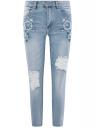 Джинсы slim с вышивкой на карманах oodji #SECTION_NAME# (синий), 12105102/46718/7000W