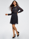 Платье из струящейся ткани с ремнем oodji для женщины (синий), 21912001-4B/17358/7912G