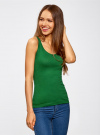 Майка базовая oodji для женщины (зеленый), 14315002B/46154/6E00N - вид 2