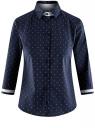 Рубашка хлопковая с рукавом 3/4 oodji #SECTION_NAME# (синий), 11403201-2/26357/7910D