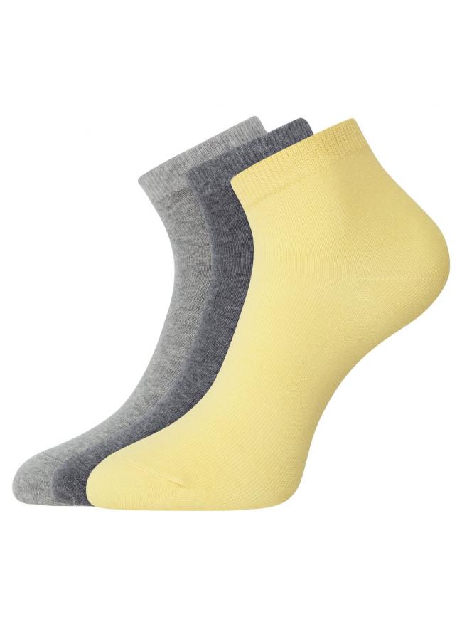 Комплект из трех пар укороченных носков oodji для женщины (разноцветный), 57102418T3/47469/19INN