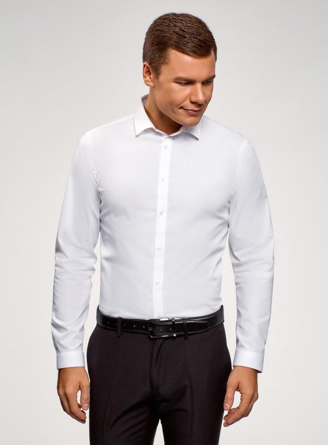 Рубашка базовая приталенного силуэта oodji для мужчины (белый), 3B110012M/23286N/1000N