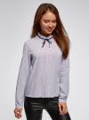 Блузка с декоративными завязками и оборками на воротнике oodji #SECTION_NAME# (синий), 11411091-3/48458/7079D - вид 2