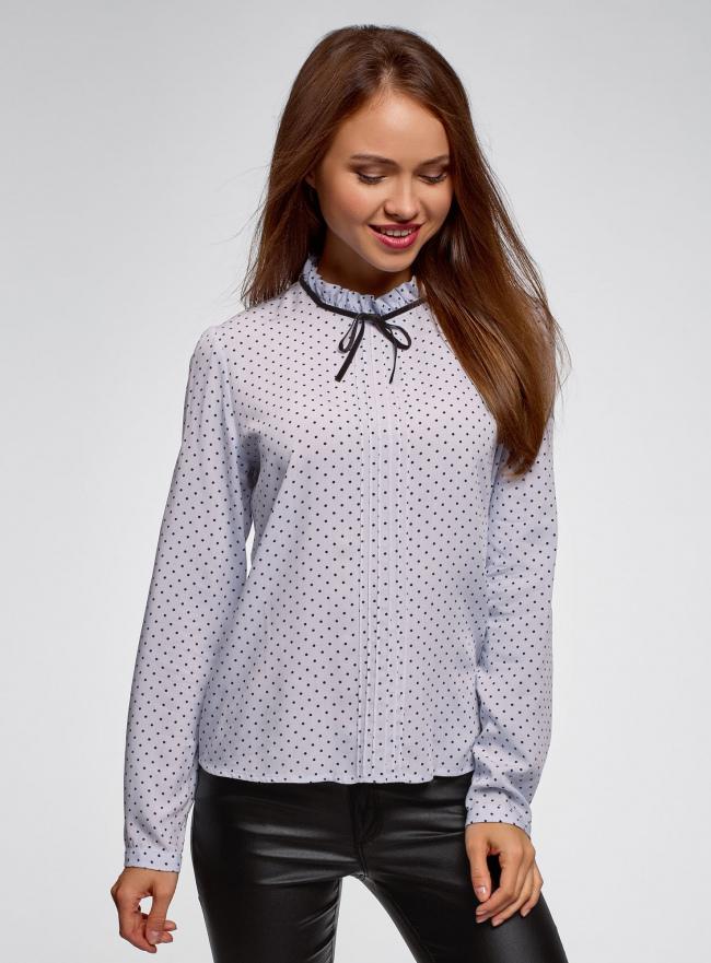Блузка с декоративными завязками и оборками на воротнике oodji #SECTION_NAME# (синий), 11411091-3/48458/7079D