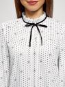 Блузка с декоративными завязками и оборками на воротнике oodji #SECTION_NAME# (белый), 11411091-2/36215/1229D - вид 4
