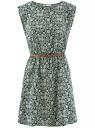 Платье принтованное из вискозы oodji для женщины (зеленый), 11910073-2/45470/6E12F