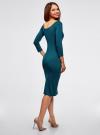 Платье облегающее с вырезом-лодочкой oodji #SECTION_NAME# (зеленый), 14017001-5B/46944/6C00N - вид 3