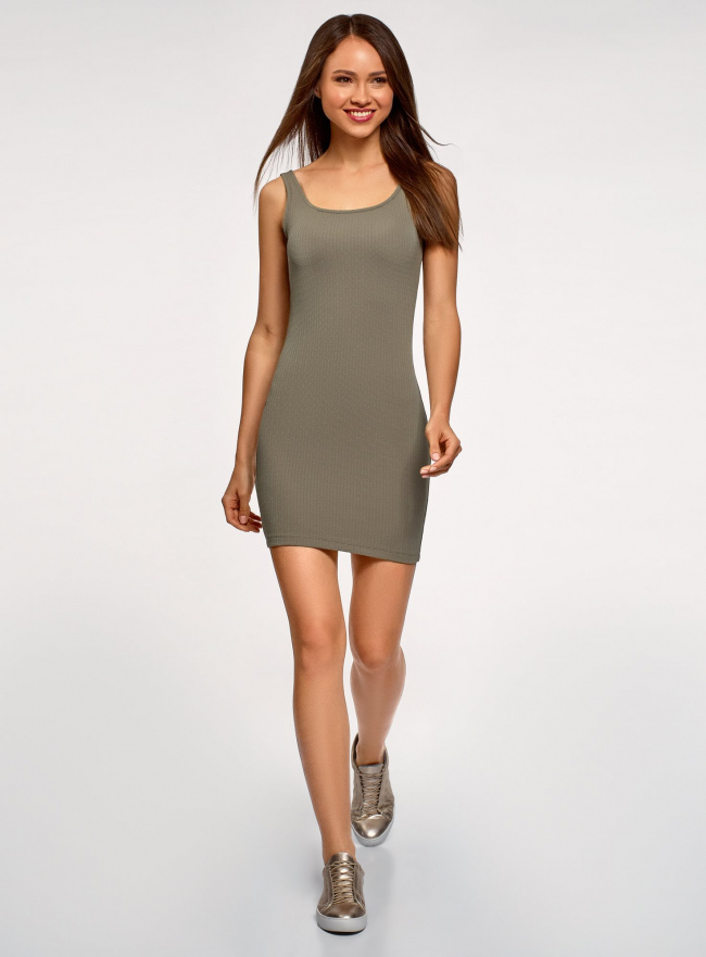 Платье-майка трикотажное облегающее oodji #SECTION_NAME# (зеленый), 14001210/48152/6600N
