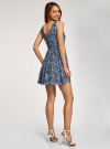 Платье принтованное с бантом на спине oodji для женщины (синий), 11900181/35271/7970F - вид 3