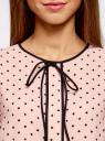 Блузка с коротким рукавом и контрастной отделкой oodji #SECTION_NAME# (розовый), 11401254/42405/4029G - вид 4