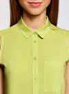 Топ вискозный с нагрудным карманом oodji для женщины (зеленый), 11411108B/26346/6A00N - вид 4