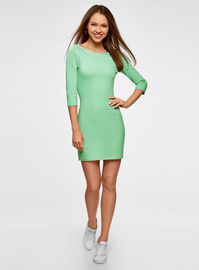 Платье трикотажное базовое oodji для женщины (зеленый), 14001071-2B/46148/6500N