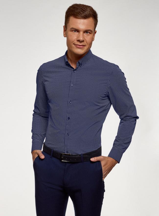 Рубашка базовая приталенная oodji для мужчины (синий), 3B110019M/44425N/7810G