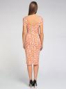 Платье трикотажное с графическим принтом oodji #SECTION_NAME# (оранжевый), 14018001/45396/5912G - вид 3
