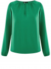 Блузка свободного кроя с вырезом-капелькой oodji #SECTION_NAME# (зеленый), 21400321-2/33116/6E00N