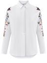 Рубашка хлопковая с вышивкой oodji #SECTION_NAME# (белый), 13L05001/13175N/1000N