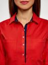 Рубашка приталенная с нагрудными карманами oodji для женщины (красный), 11403222-3/42468/4500N