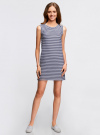 Платье из ткани пике oodji #SECTION_NAME# (синий), 14005074-1B/46149/7910S - вид 2