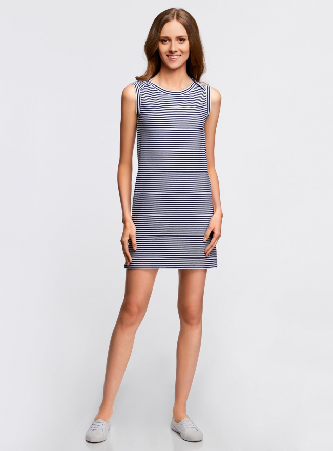 Платье из ткани пике oodji #SECTION_NAME# (синий), 14005074-1B/46149/7910S