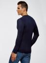 Пуловер базовый из вискозы с V-образным вырезом oodji #SECTION_NAME# (синий), 4L212140M/39795N/7900N - вид 3
