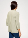 Блузка вискозная с рукавом-трансформером 3/4 oodji #SECTION_NAME# (зеленый), 11403189-2B/26346/6000N - вид 3