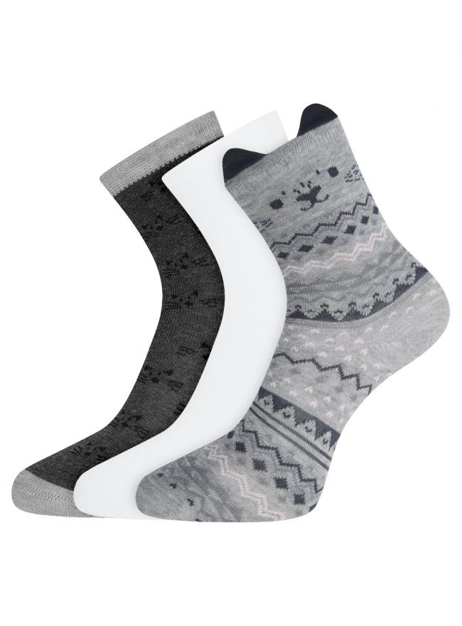 Комплект из трех пар носков oodji #SECTION_NAME# (разноцветный), 57102802-1T3/49668/1