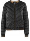 Куртка стеганая с круглым вырезом oodji для женщины (черный), 10203079/49439/2900B
