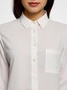 Блузка прямого силуэта с нагрудным карманом oodji для женщины (слоновая кость), 11411134B/46123/1200N