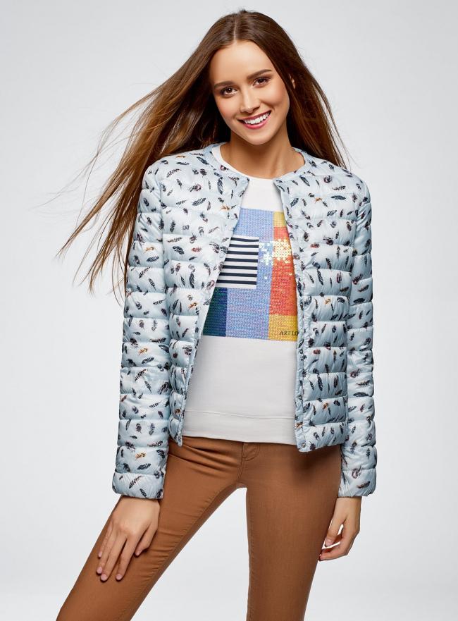 Куртка стеганая с круглым вырезом oodji #SECTION_NAME# (синий), 10204040-1B/42257/7019A